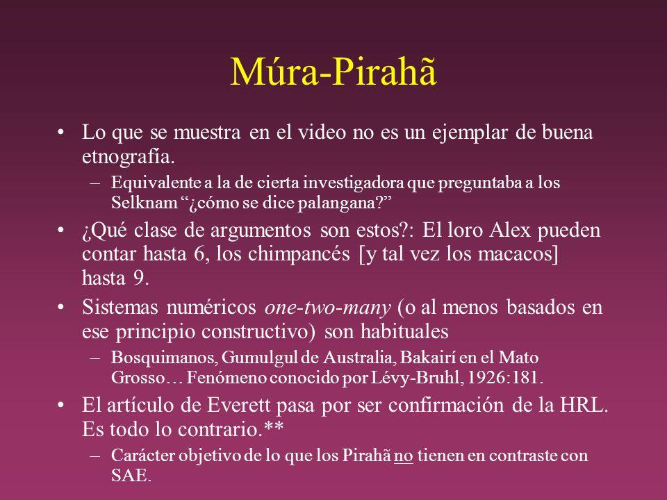 Múra-Pirahã Lo que se muestra en el video no es un ejemplar de buena etnografía.