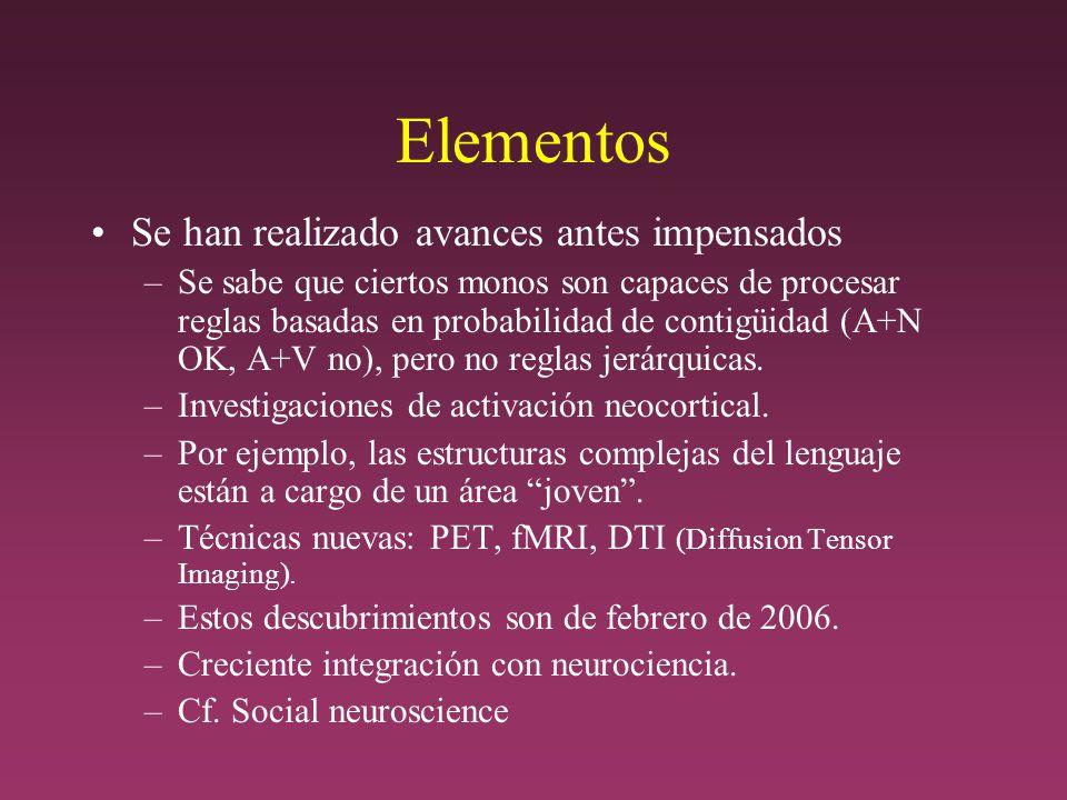 Elementos Se han realizado avances antes impensados –Se sabe que ciertos monos son capaces de procesar reglas basadas en probabilidad de contigüidad (A+N OK, A+V no), pero no reglas jerárquicas.