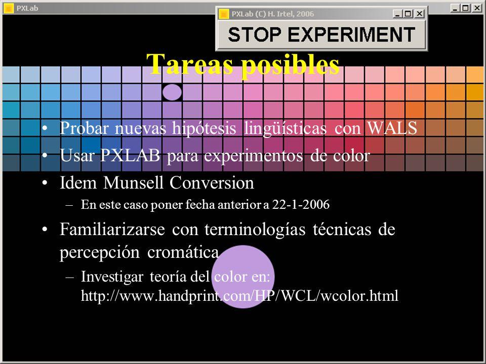Tareas posibles Probar nuevas hipótesis lingüísticas con WALS Usar PXLAB para experimentos de color Idem Munsell Conversion –En este caso poner fecha anterior a 22-1-2006 Familiarizarse con terminologías técnicas de percepción cromática –Investigar teoría del color en: http://www.handprint.com/HP/WCL/wcolor.html