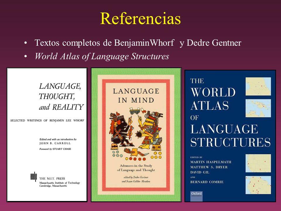 Referencias Textos completos de BenjaminWhorf y Dedre Gentner World Atlas of Language Structures