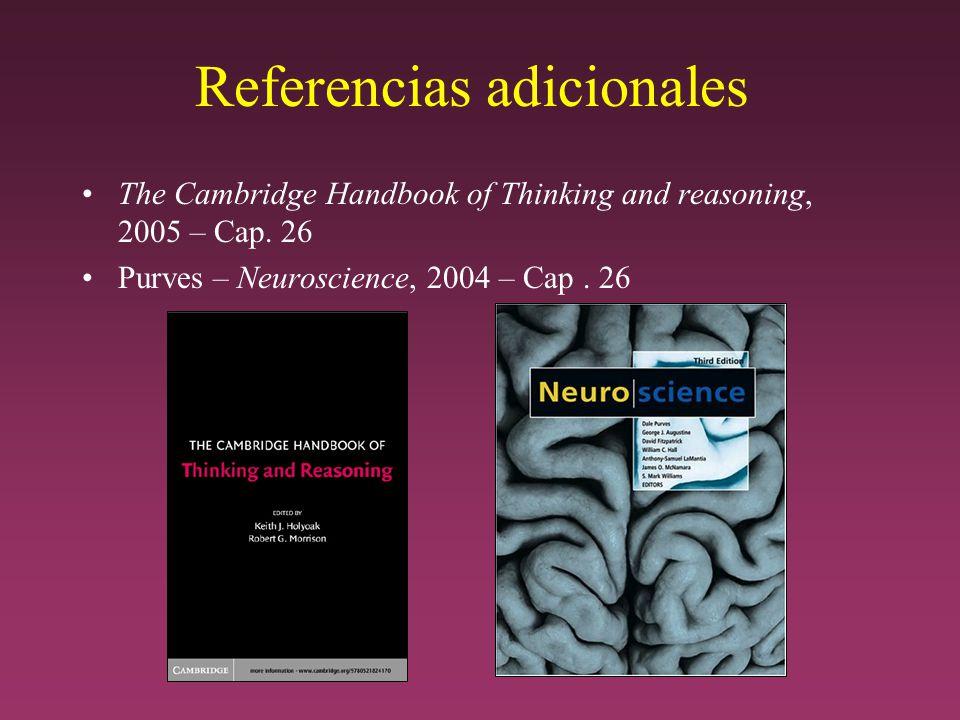 Referencias adicionales The Cambridge Handbook of Thinking and reasoning, 2005 – Cap.