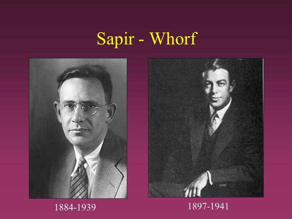 Sapir - Whorf 1897-1941 1884-1939