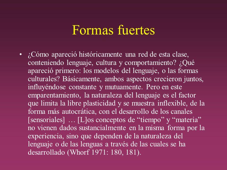 Formas fuertes ¿Cómo apareció históricamente una red de esta clase, conteniendo lenguaje, cultura y comportamiento.