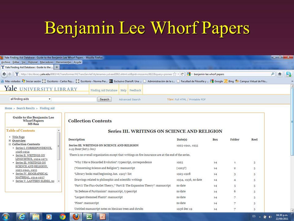 Benjamin Lee Whorf Papers