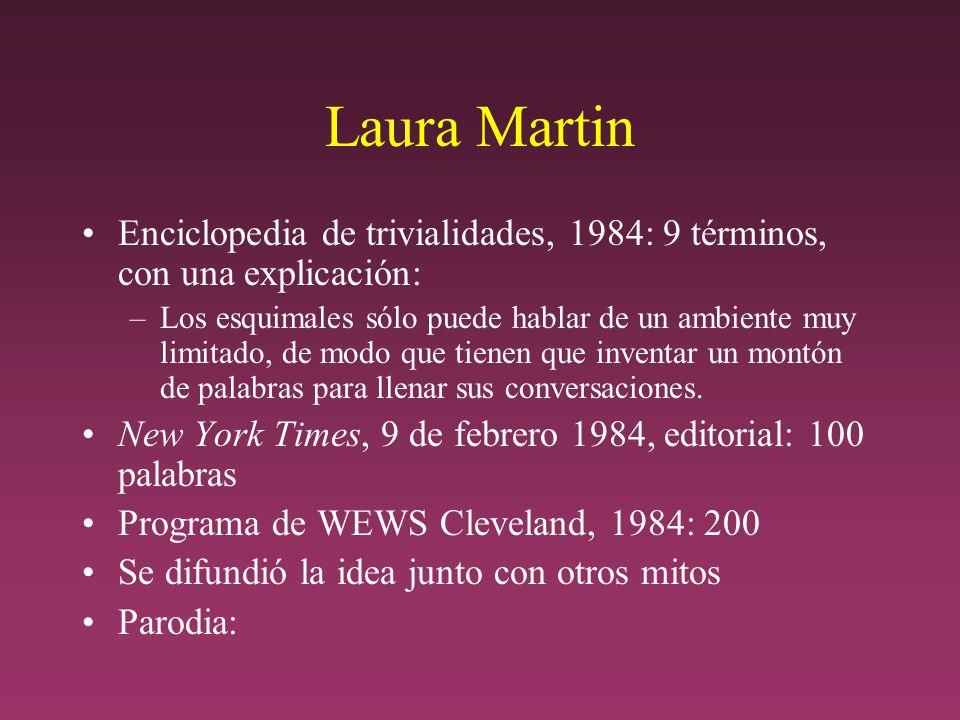 Laura Martin Enciclopedia de trivialidades, 1984: 9 términos, con una explicación: –Los esquimales sólo puede hablar de un ambiente muy limitado, de modo que tienen que inventar un montón de palabras para llenar sus conversaciones.