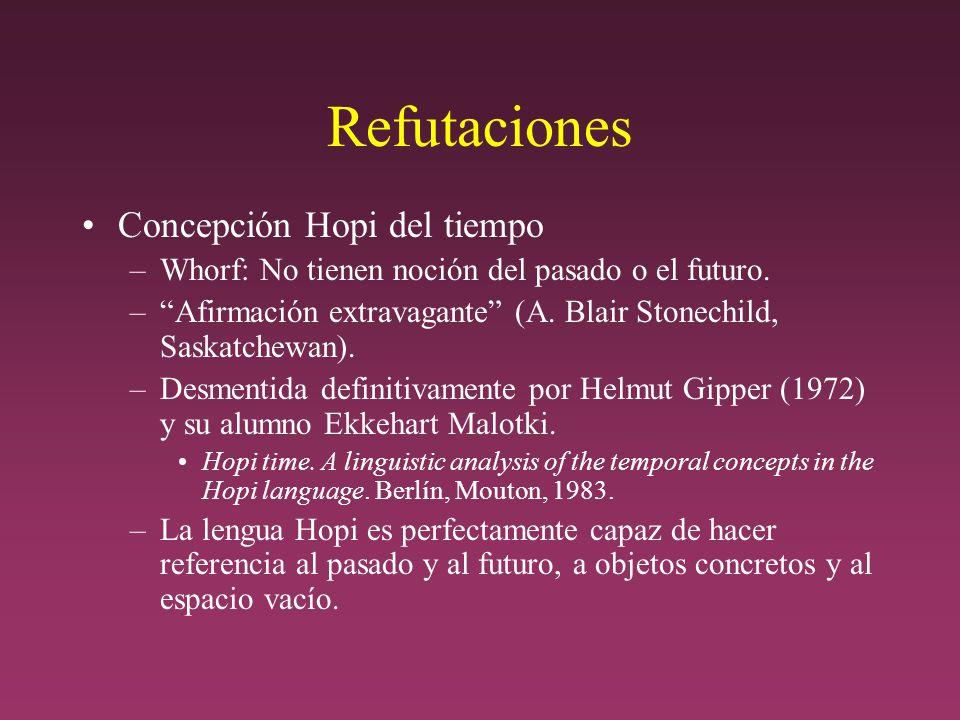 Refutaciones Concepción Hopi del tiempo –Whorf: No tienen noción del pasado o el futuro.