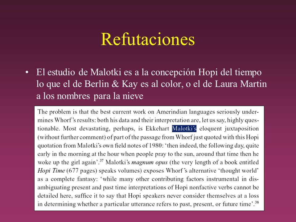 Refutaciones El estudio de Malotki es a la concepción Hopi del tiempo lo que el de Berlin & Kay es al color, o el de Laura Martin a los nombres para la nieve