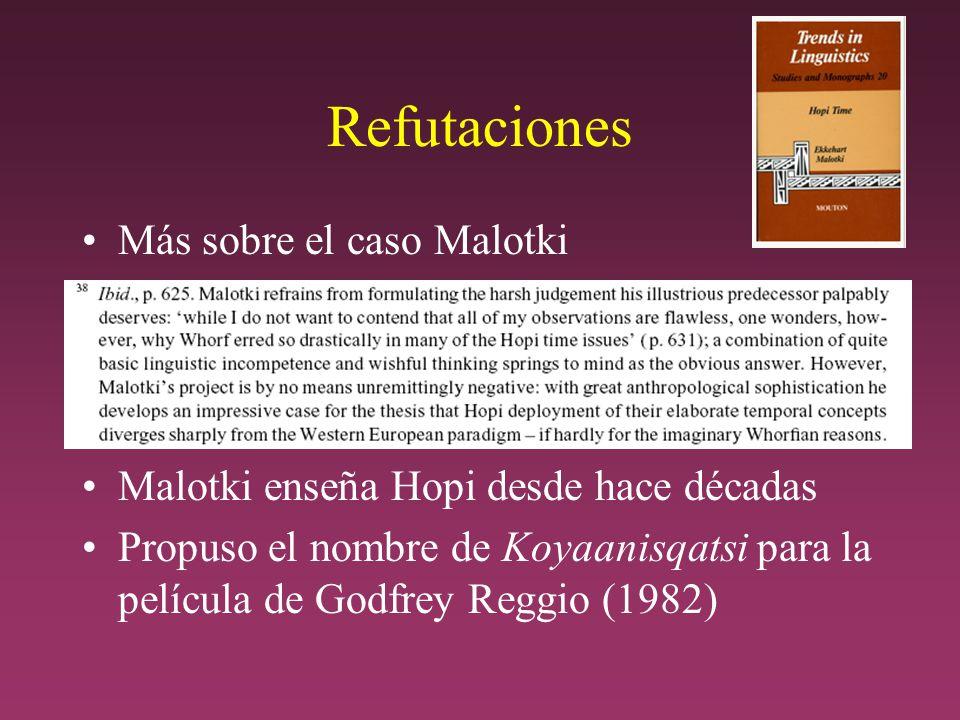 Refutaciones Más sobre el caso Malotki Malotki enseña Hopi desde hace décadas Propuso el nombre de Koyaanisqatsi para la película de Godfrey Reggio (1982)