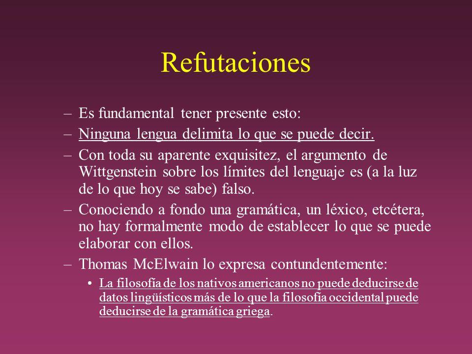 Refutaciones –Es fundamental tener presente esto: –Ninguna lengua delimita lo que se puede decir.