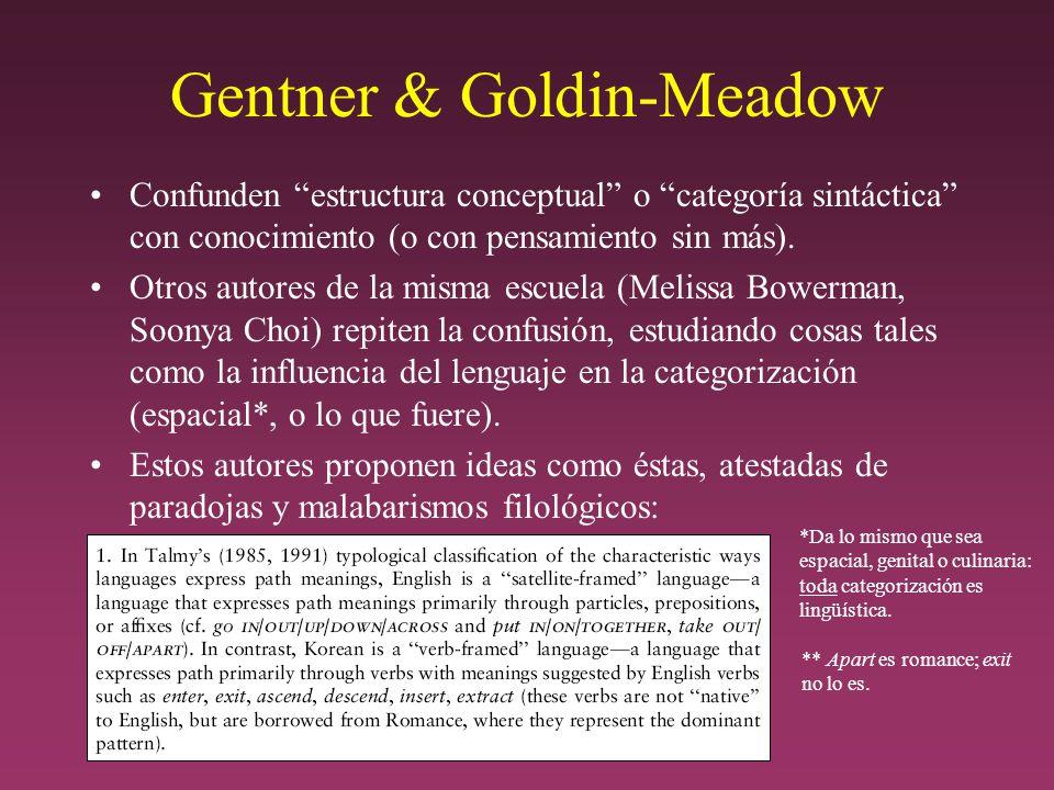 Gentner & Goldin-Meadow Confunden estructura conceptual o categoría sintáctica con conocimiento (o con pensamiento sin más).