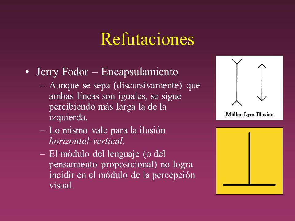 Refutaciones Jerry Fodor – Encapsulamiento –Aunque se sepa (discursivamente) que ambas líneas son iguales, se sigue percibiendo más larga la de la izquierda.
