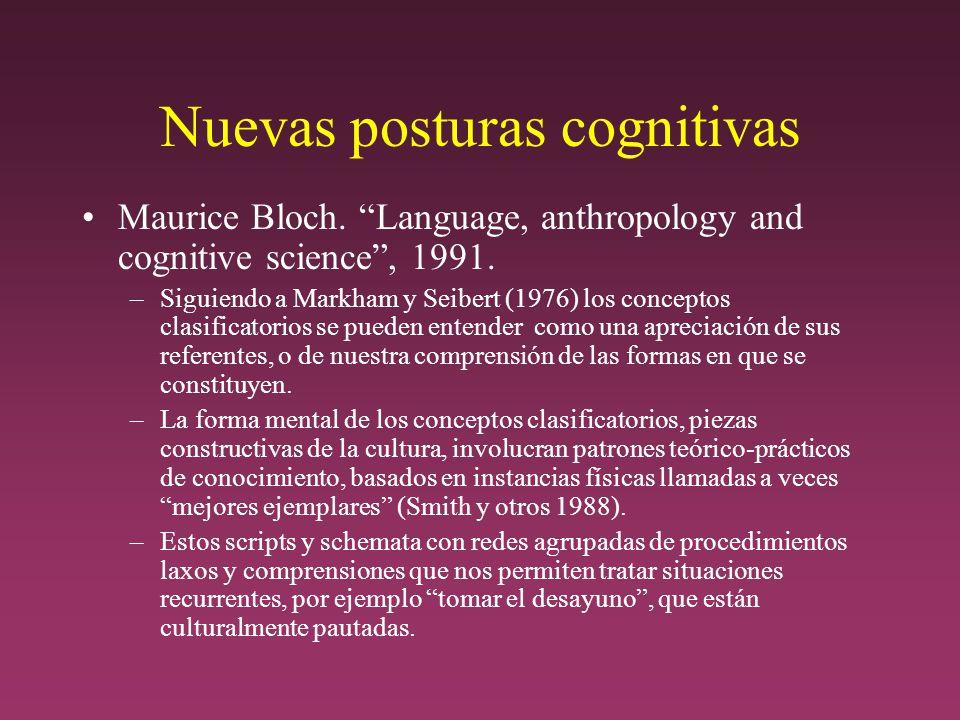 Nuevas posturas cognitivas Maurice Bloch.Language, anthropology and cognitive science, 1991.
