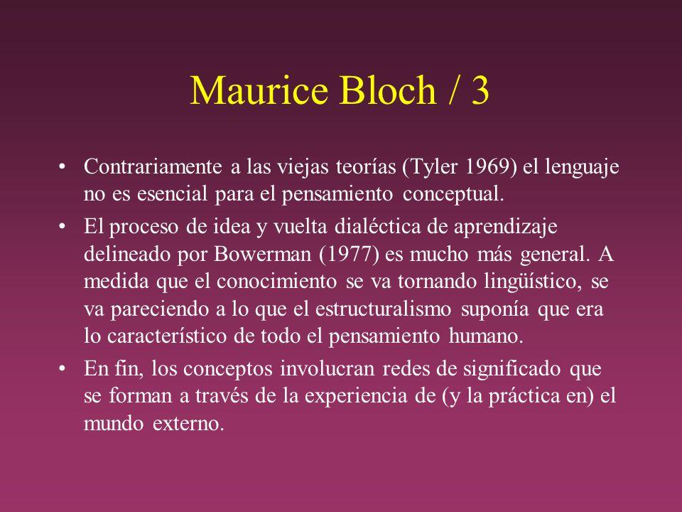 Maurice Bloch / 3 Contrariamente a las viejas teorías (Tyler 1969) el lenguaje no es esencial para el pensamiento conceptual.