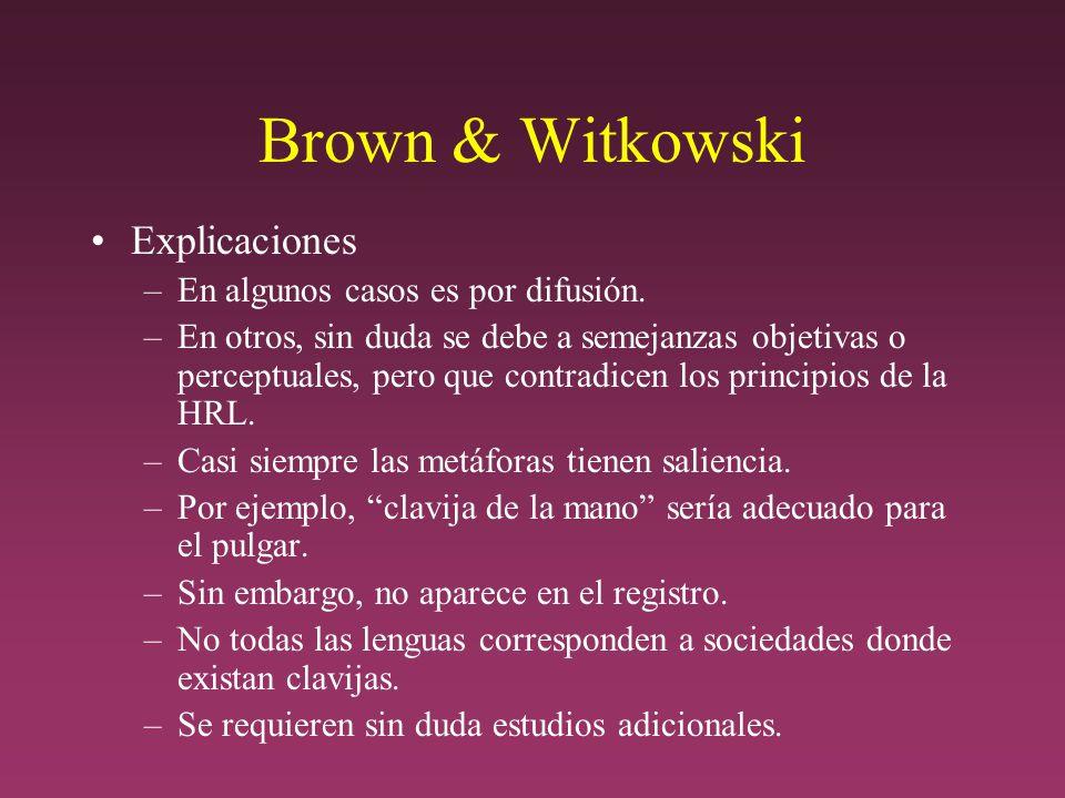 Brown & Witkowski Explicaciones –En algunos casos es por difusión.
