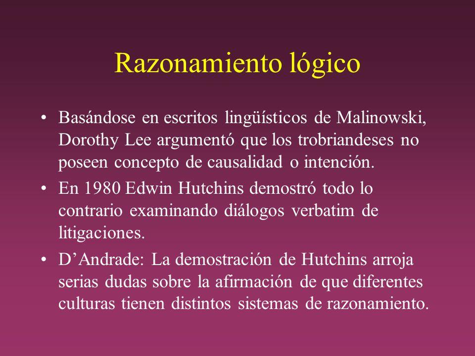 Razonamiento lógico Basándose en escritos lingüísticos de Malinowski, Dorothy Lee argumentó que los trobriandeses no poseen concepto de causalidad o intención.