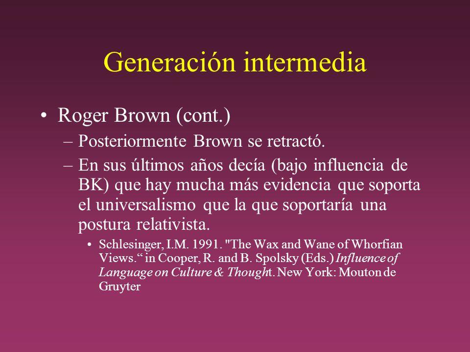 Generación intermedia Roger Brown (cont.) –Posteriormente Brown se retractó.