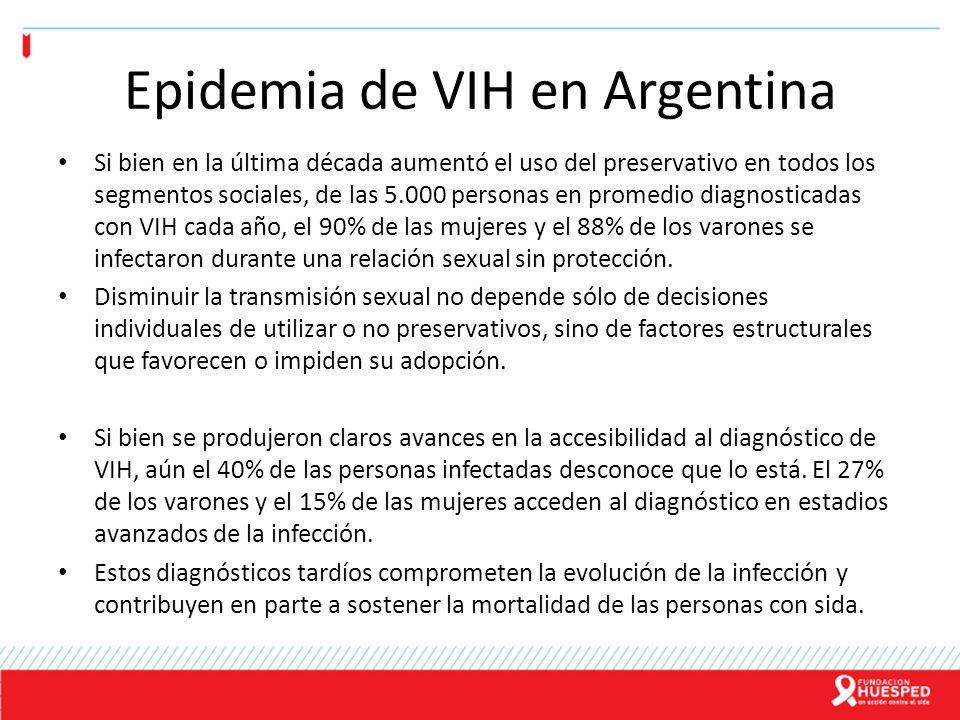 Epidemia de VIH en Argentina Si bien en la última década aumentó el uso del preservativo en todos los segmentos sociales, de las 5.000 personas en pro