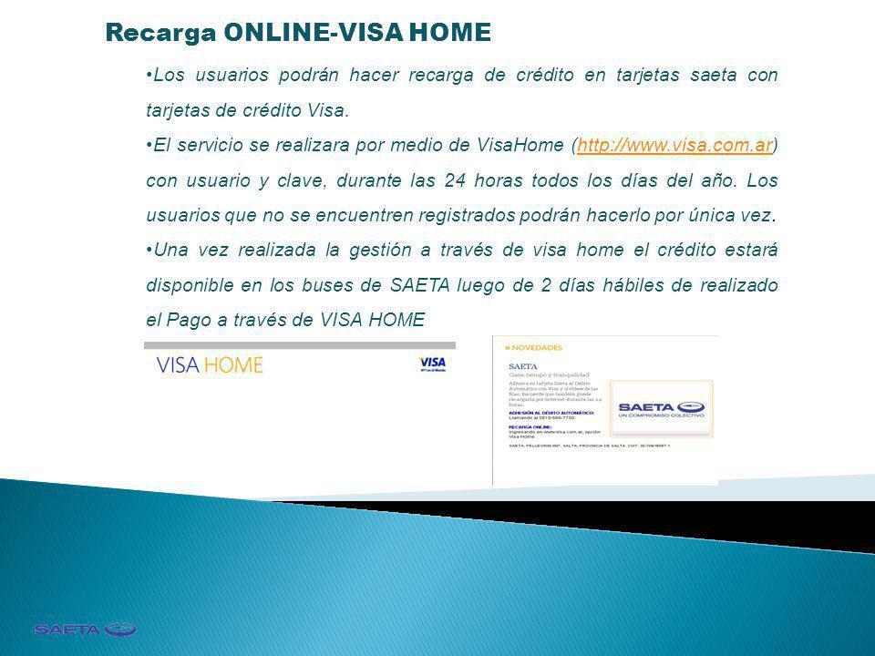 Recarga ONLINE-VISA HOME Los usuarios podrán hacer recarga de crédito en tarjetas saeta con tarjetas de crédito Visa. El servicio se realizara por med