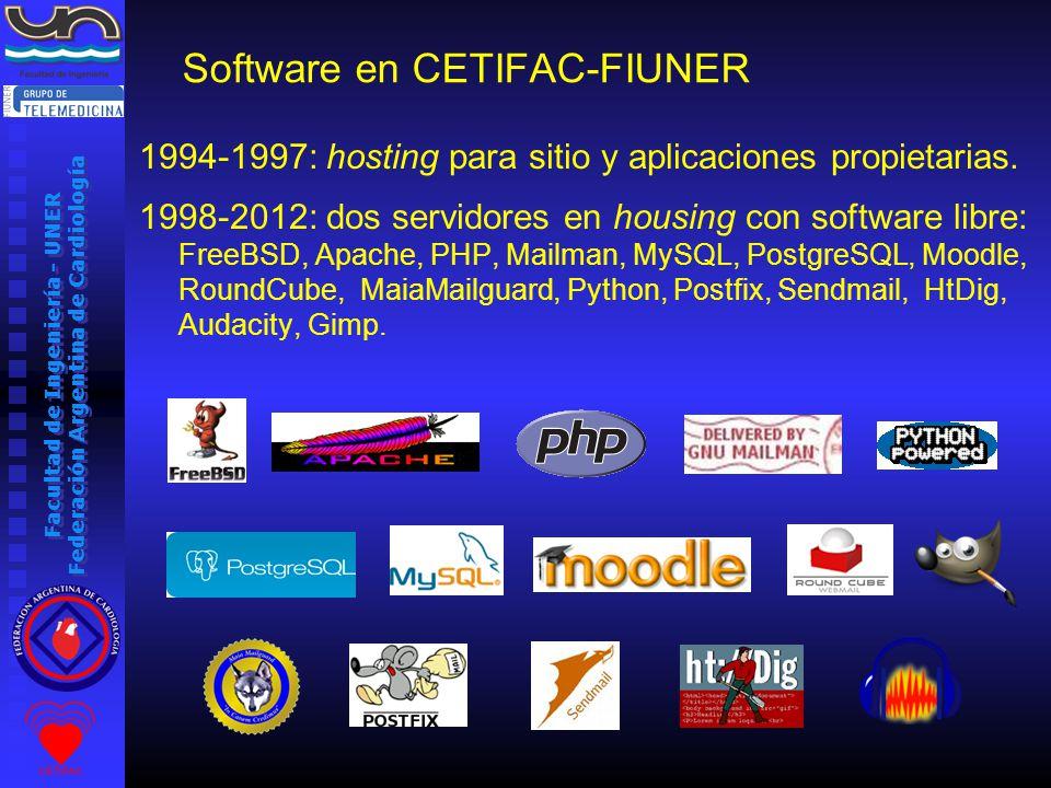 Facultad de Ingeniería - UNER Federación Argentina de Cardiología 1994-1997: hosting para sitio y aplicaciones propietarias.