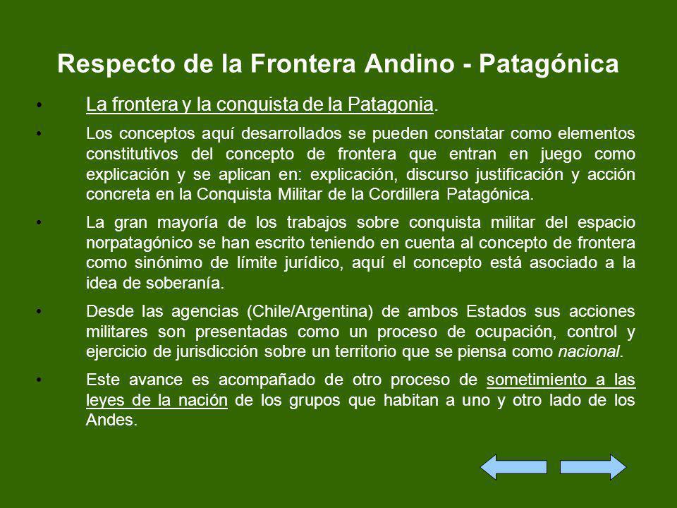 Respecto de la Frontera Andino - Patagónica La frontera y la conquista de la Patagonia. Los conceptos aquí desarrollados se pueden constatar como elem