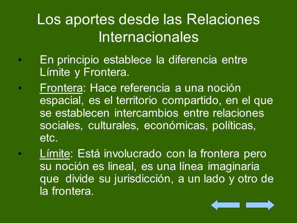 Los aportes desde las Relaciones Internacionales En principio establece la diferencia entre Límite y Frontera. Frontera: Hace referencia a una noción
