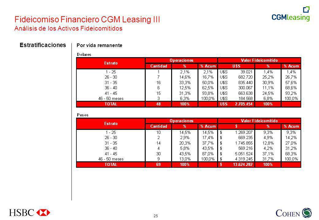 25 Estratificaciones Por vida remanente Fideicomiso Financiero CGM Leasing III Análisis de los Activos Fideicomitidos