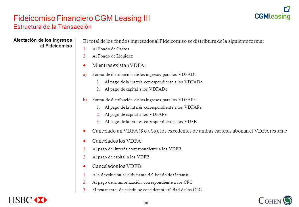 30 Afectación de los ingresos al Fideicomiso Fideicomiso Financiero CGM Leasing III Estructura de la Transacción El total de los fondos ingresados al Fideicomiso se distribuirá de la siguiente forma: 1.Al Fondo de Gastos 2.Al Fondo de Liquidez Mientras existan VDFA: a)Forma de distribución de los ingresos para los VDFADo.
