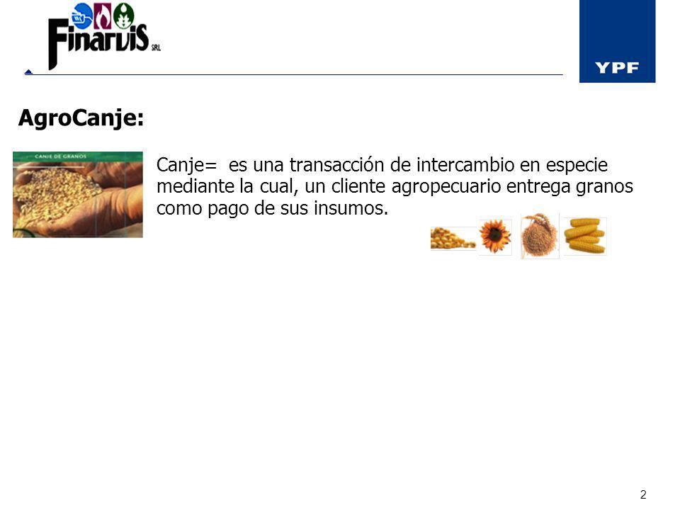 2 AgroCanje: Canje= es una transacción de intercambio en especie mediante la cual, un cliente agropecuario entrega granos como pago de sus insumos. Co