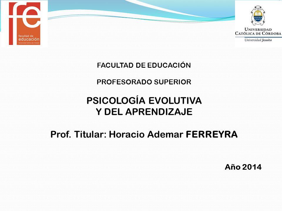FACULTAD DE EDUCACIÓN PROFESORADO SUPERIOR PSICOLOGÍA EVOLUTIVA Y DEL APRENDIZAJE Prof.