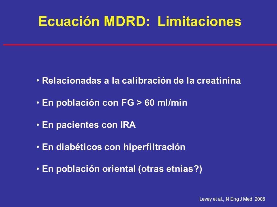 Levey et al., N Eng J Med 2006 Ecuación MDRD: Limitaciones Relacionadas a la calibración de la creatinina En población con FG > 60 ml/min En pacientes