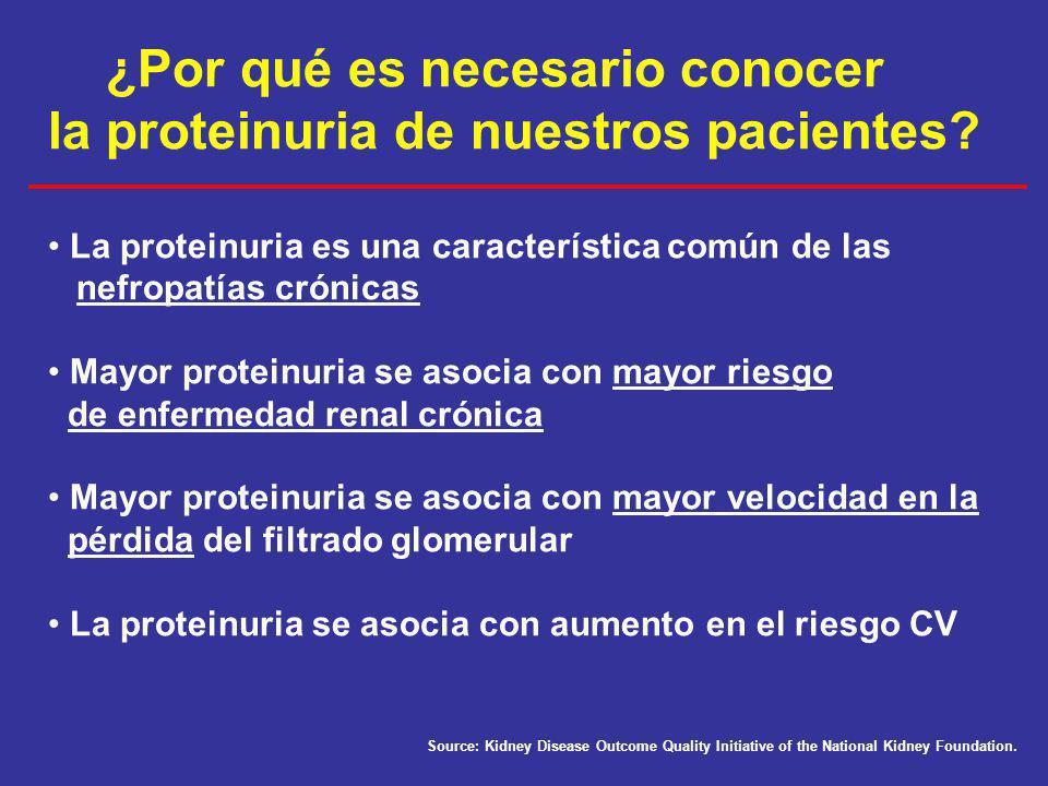 ¿Por qué es necesario conocer la proteinuria de nuestros pacientes? La proteinuria es una característica común de las nefropatías crónicas Mayor prote