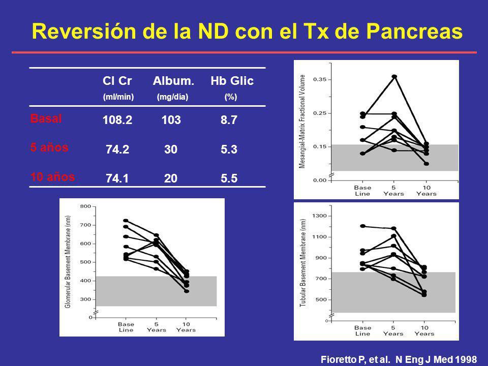 Reversión de la ND con el Tx de Pancreas Fioretto P, et al. N Eng J Med 1998 Basal 5 años 10 años Cl Cr (ml/min) 108.2 74.2 74.1 Album. (mg/día) 103 3