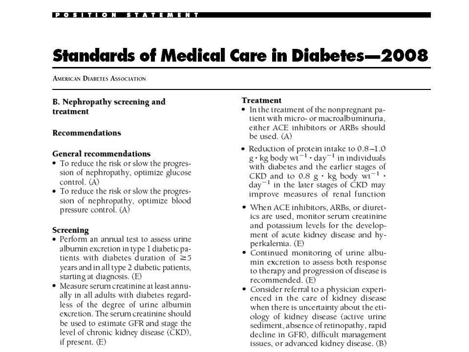 CASO CLINICO Mujer, 57 años Diabética tipo 2 (15 años de diagnóstico) HTA (10 años de diagnóstico) Refiere controles de PA en casa de 120/80 Nunca tabaco BMI: 31 Probable SAOS (en estudio) Sin retinopatía Control previo hace 6 meses PA: 155/95 Sin edemas Creatinina: 1.10 mg/dl (previa 0.88 mg/dl) Indice Albúmina/Creatinina urinaria: 28 mg/g K: 5.4 mEq/l Hb glicosilada: 9.4% LDL: 155 mg/dl HDL: 35 mg/dl Triglicéridos: 225 mg/dl Orina completa: normal Medicación: Enalapril 10 mg/día, Atorvastatina 10 mg/día, Metformina 850 mg c/12 hs