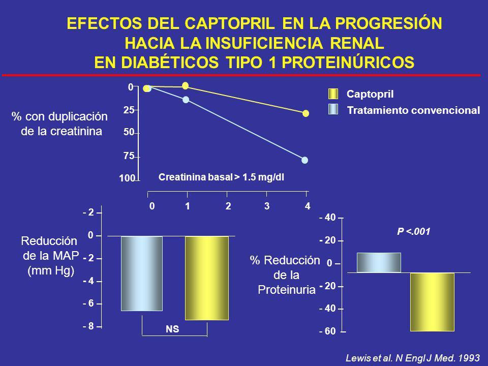 Reducción de la MAP (mm Hg) - 2 – 0 – - 2 – - 4 – - 6 – - 8 – - 40 – - 20 – 0 – - 20 – - 40 – - 60 – % Reducción de la Proteinuria P <.001 % con dupli