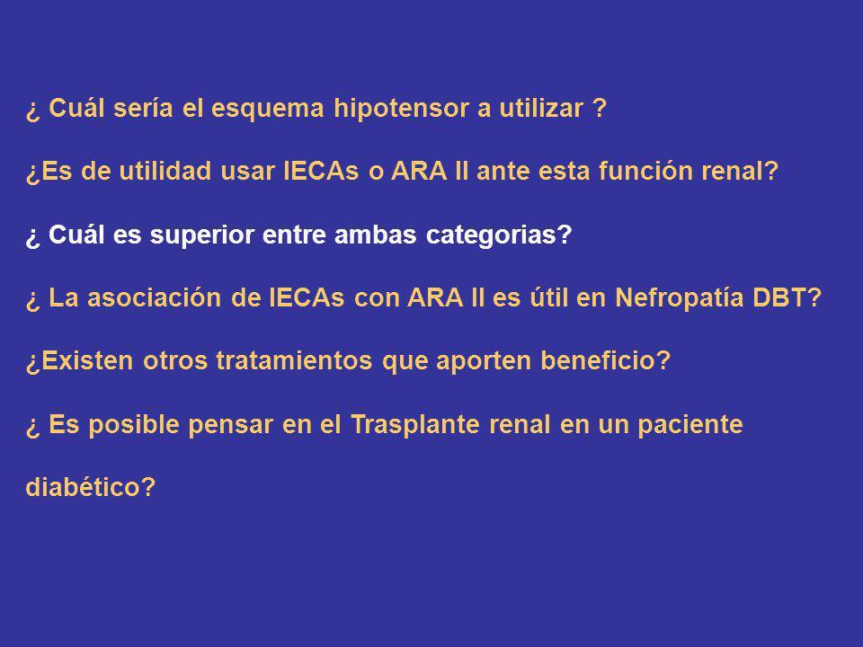 ¿ Cuál sería el esquema hipotensor a utilizar ? ¿Es de utilidad usar IECAs o ARA II ante esta función renal? ¿ Cuál es superior entre ambas categorias