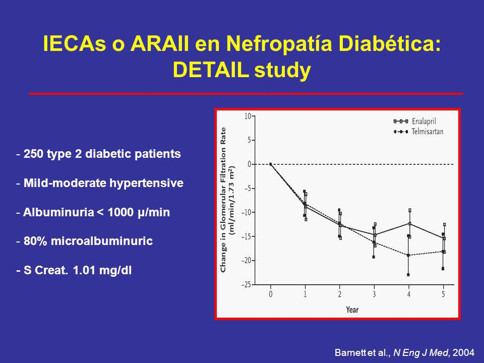 IECAs o ARAII en Nefropatía Diabética: DETAIL study Barnett et al., N Eng J Med, 2004 - 250 type 2 diabetic patients - Mild-moderate hypertensive - Al