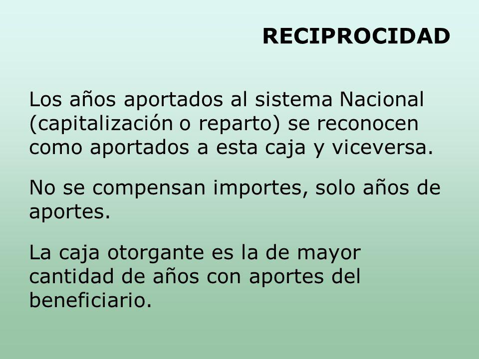 RECIPROCIDAD Los años aportados al sistema Nacional (capitalización o reparto) se reconocen como aportados a esta caja y viceversa.