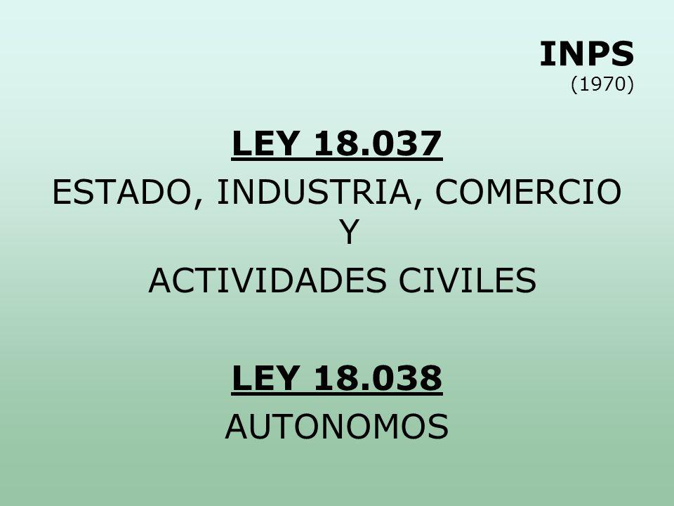 INPS (1970) LEY 18.037 ESTADO, INDUSTRIA, COMERCIO Y ACTIVIDADES CIVILES LEY 18.038 AUTONOMOS