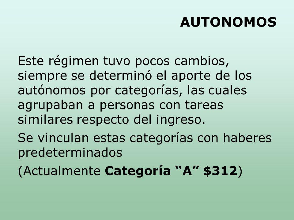 Este régimen tuvo pocos cambios, siempre se determinó el aporte de los autónomos por categorías, las cuales agrupaban a personas con tareas similares respecto del ingreso.