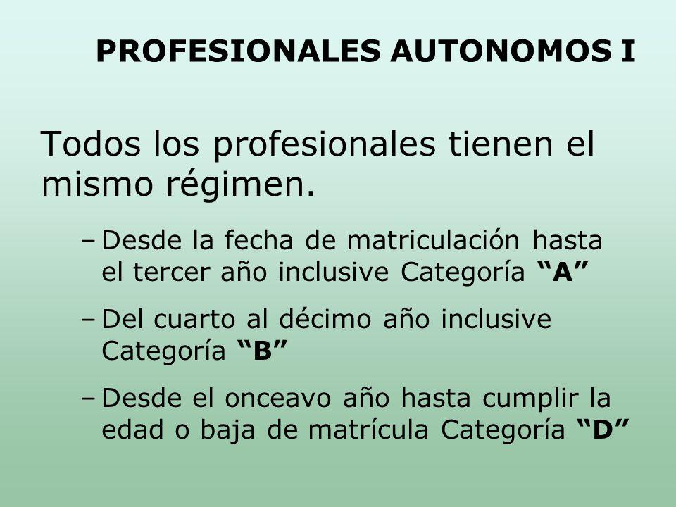 PROFESIONALES AUTONOMOS I Todos los profesionales tienen el mismo régimen.