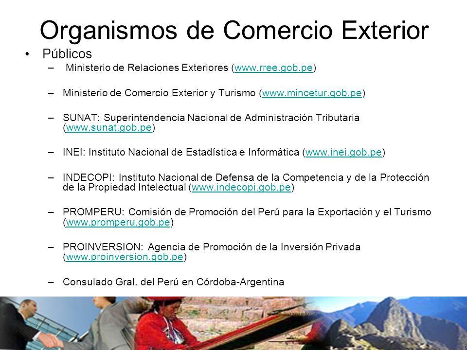 Organismos de Comercio Exterior Públicos – Ministerio de Relaciones Exteriores (www.rree.gob.pe)www.rree.gob.pe –Ministerio de Comercio Exterior y Turismo (www.mincetur.gob.pe)www.mincetur.gob.pe –SUNAT: Superintendencia Nacional de Administración Tributaria (www.sunat.gob.pe)www.sunat.gob.pe –INEI: Instituto Nacional de Estadística e Informática (www.inei.gob.pe)www.inei.gob.pe –INDECOPI: Instituto Nacional de Defensa de la Competencia y de la Protección de la Propiedad Intelectual (www.indecopi.gob.pe)www.indecopi.gob.pe –PROMPERU: Comisión de Promoción del Perú para la Exportación y el Turismo (www.promperu.gob.pe)www.promperu.gob.pe –PROINVERSION: Agencia de Promoción de la Inversión Privada (www.proinversion.gob.pe)www.proinversion.gob.pe –Consulado Gral.