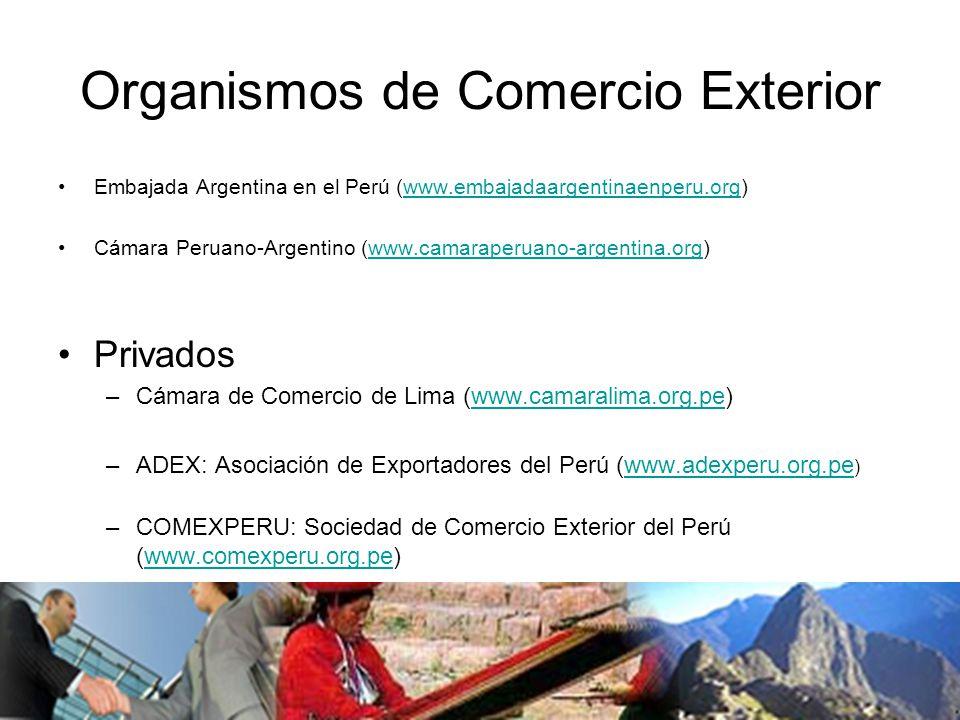 Organismos de Comercio Exterior Embajada Argentina en el Perú (www.embajadaargentinaenperu.org)www.embajadaargentinaenperu.org Cámara Peruano-Argentino (www.camaraperuano-argentina.org)www.camaraperuano-argentina.org Privados –Cámara de Comercio de Lima (www.camaralima.org.pe)www.camaralima.org.pe –ADEX: Asociación de Exportadores del Perú (www.adexperu.org.pe )www.adexperu.org.pe –COMEXPERU: Sociedad de Comercio Exterior del Perú (www.comexperu.org.pe)www.comexperu.org.pe