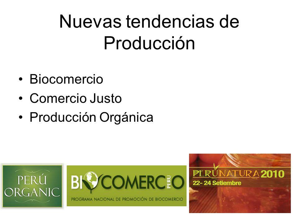 Nuevas tendencias de Producción Biocomercio Comercio Justo Producción Orgánica