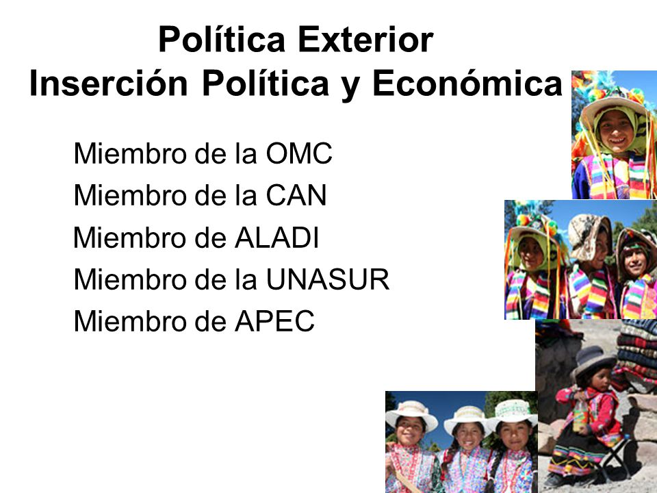 Política Exterior Inserción Política y Económica Miembro de la OMC Miembro de la CAN Miembro de ALADI Miembro de la UNASUR Miembro de APEC