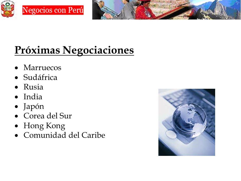 Próximas Negociaciones Marruecos Sudáfrica Rusia India Japón Corea del Sur Hong Kong Comunidad del Caribe
