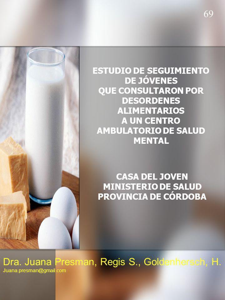 ESTUDIO DE SEGUIMIENTO DE JÓVENES QUE CONSULTARON POR DESORDENES ALIMENTARIOS A UN CENTRO AMBULATORIO DE SALUD MENTAL CASA DEL JOVEN MINISTERIO DE SALUD PROVINCIA DE CÓRDOBA Dra.