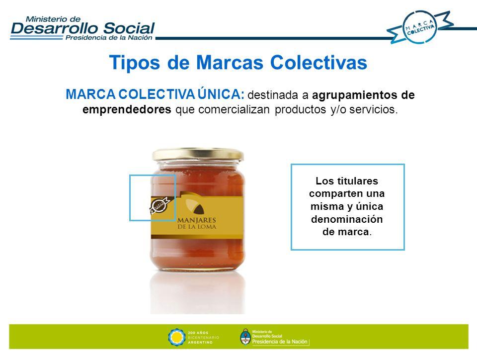 MARCA COLECTIVA ÚNICA: destinada a agrupamientos de emprendedores que comercializan productos y/o servicios. Tipos de Marcas Colectivas Los titulares
