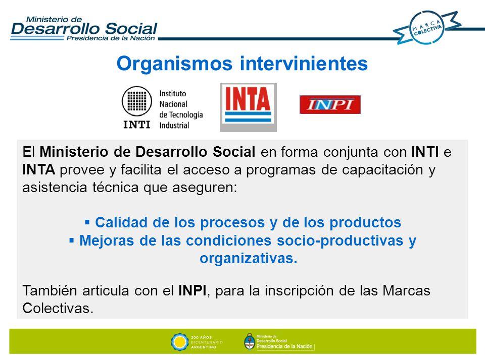 Organismos intervinientes Ministerio de Desarrollo SocialINTI INTA El Ministerio de Desarrollo Social en forma conjunta con INTI e INTA provee y facil