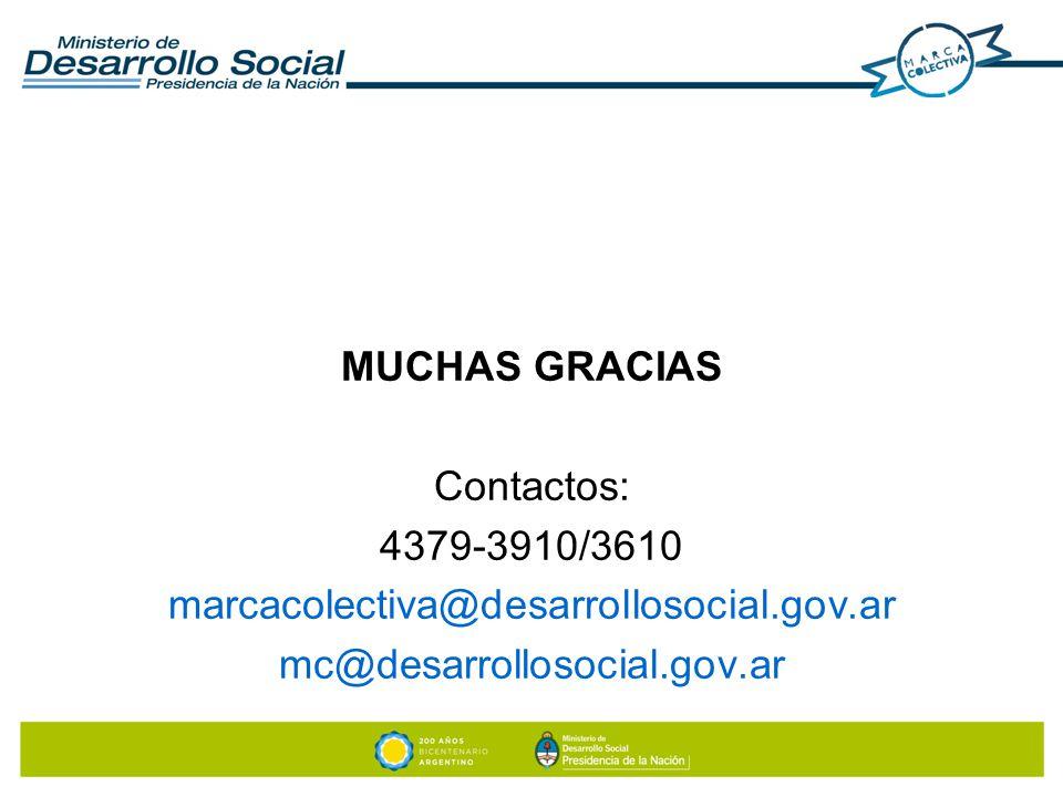 MUCHAS GRACIAS Contactos: 4379-3910/3610 marcacolectiva@desarrollosocial.gov.ar mc@desarrollosocial.gov.ar
