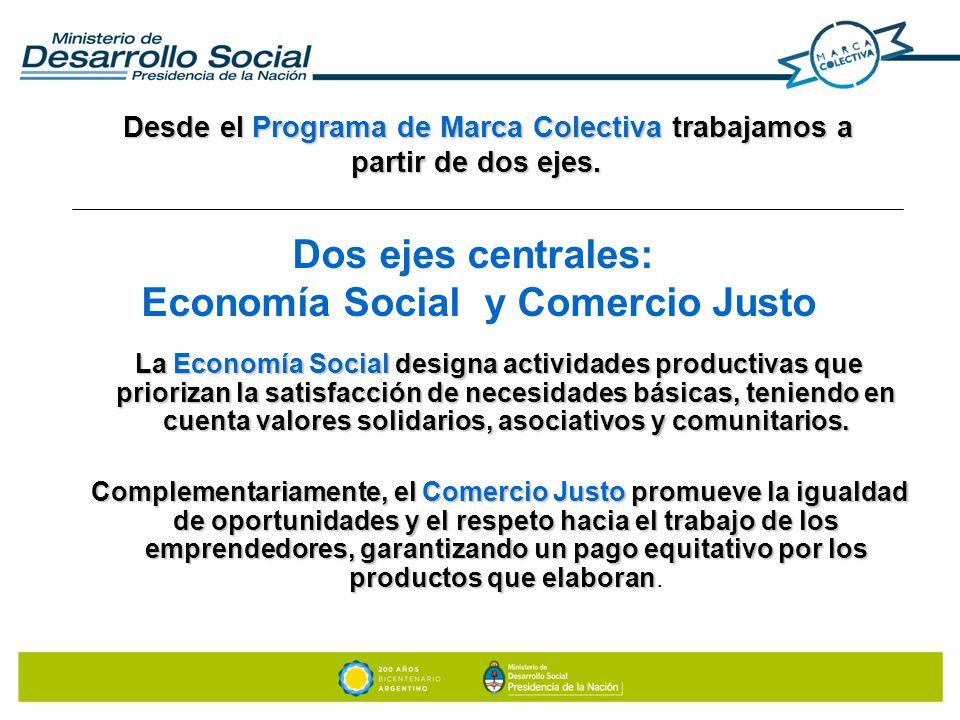 Dos ejes centrales: Economía Social y Comercio Justo La Economía Social designa actividades productivas que priorizan la satisfacción de necesidades b